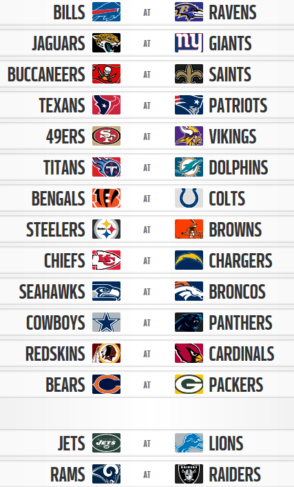 2018 NFL Week One Schedule